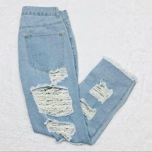 Extreme distressed boyfriend jeans